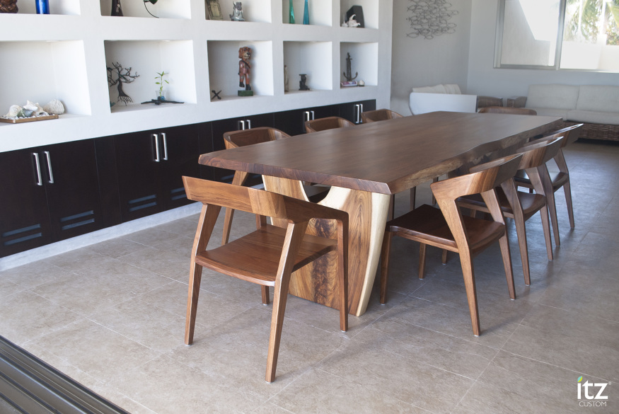 Tzalam dining table itz mayan wood furniture for Comedor con banca y sillas